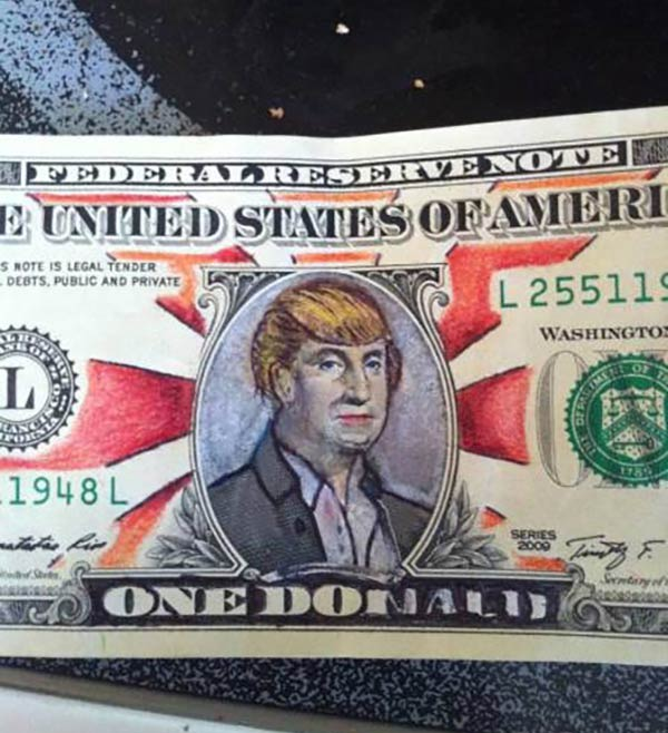 35 Funny Pics ~ donald trump one dollar bill art