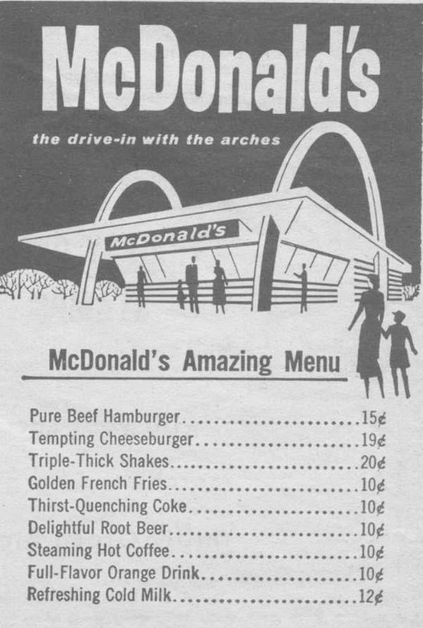 33 Funny Pics ~ vintage McDonald's Menus 1960s