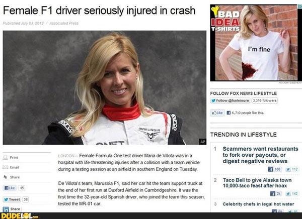 Funny Ad Placement Fails ~ F1 driver crash