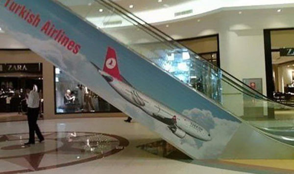 Funny Bad Ad Placement Fails ~ turkish airlines escalator crash