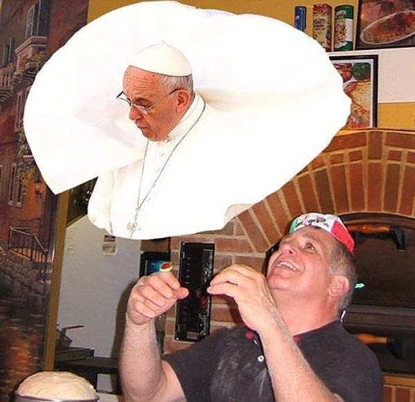 35 Funny Pics Memes ~ Tossing Pope Pizza Dough