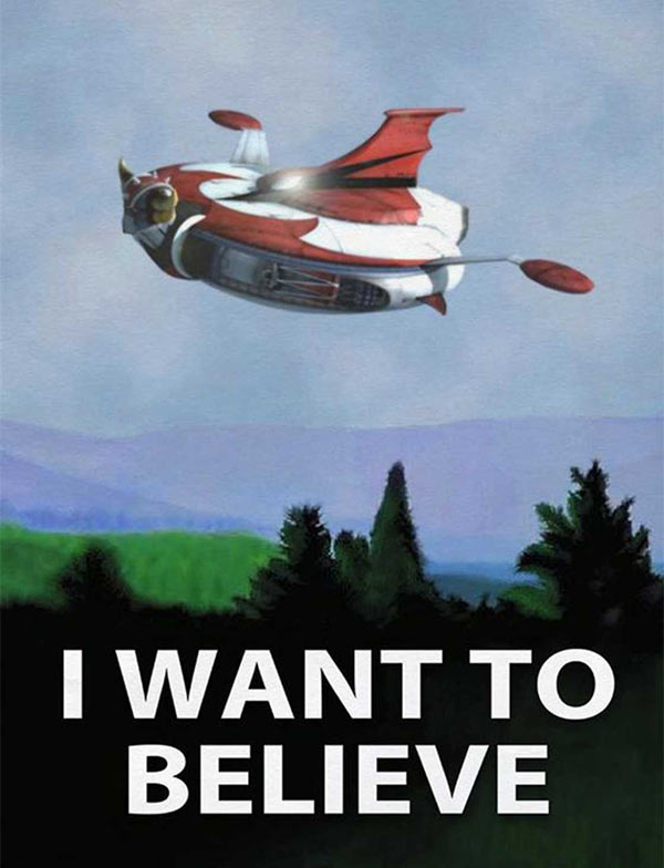 Funny X-Files Poster of chicken head UFO, I Want to Believe