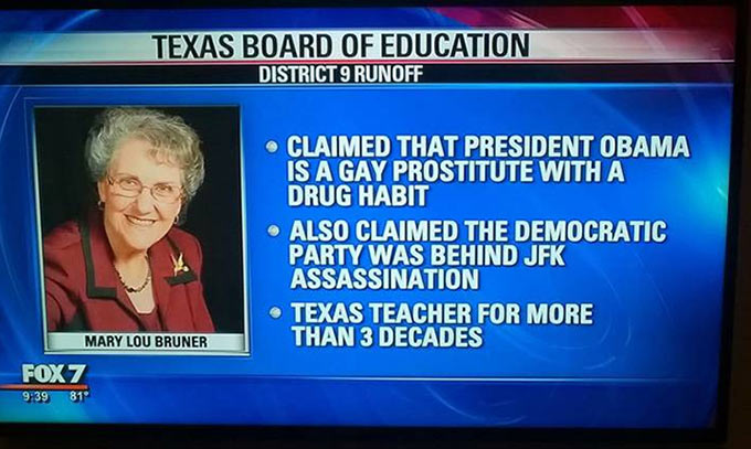 Funny TV News Fail~ Texas Board of Education ~ Mary Lou Bruner claimed Obama is a gay prostitute