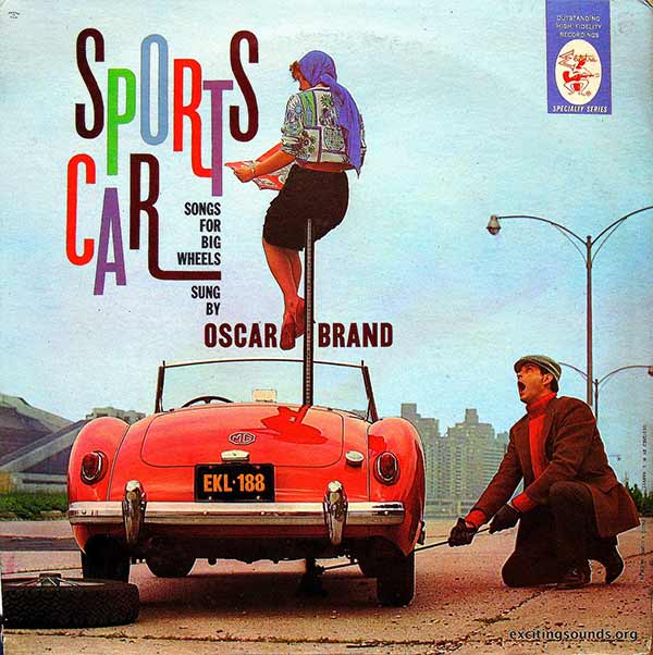 """Sports Cars Songs for Big Wheels"" by Oscar Brand ...Worst Album Covers Ever!"