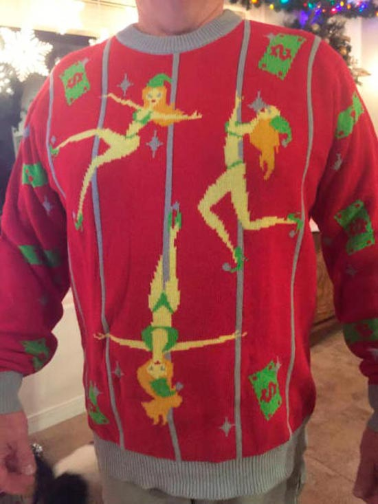 Funny Pics & Memes ~ ugly christmas sweater pole dancers
