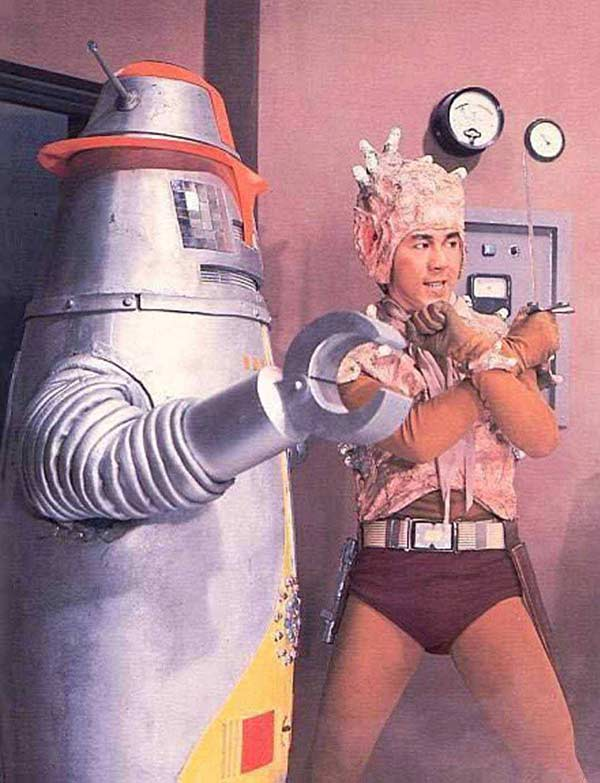 Vintage Japanese Sci-Fi man in thong with robot