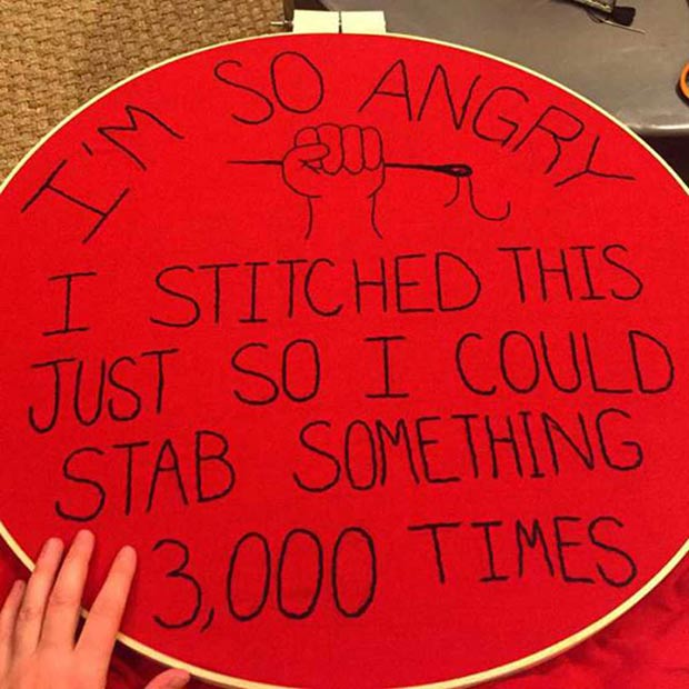 Funny Pics, Cool Stuff ~ Needlepoint ~ So angry I stitched this so I could stab something