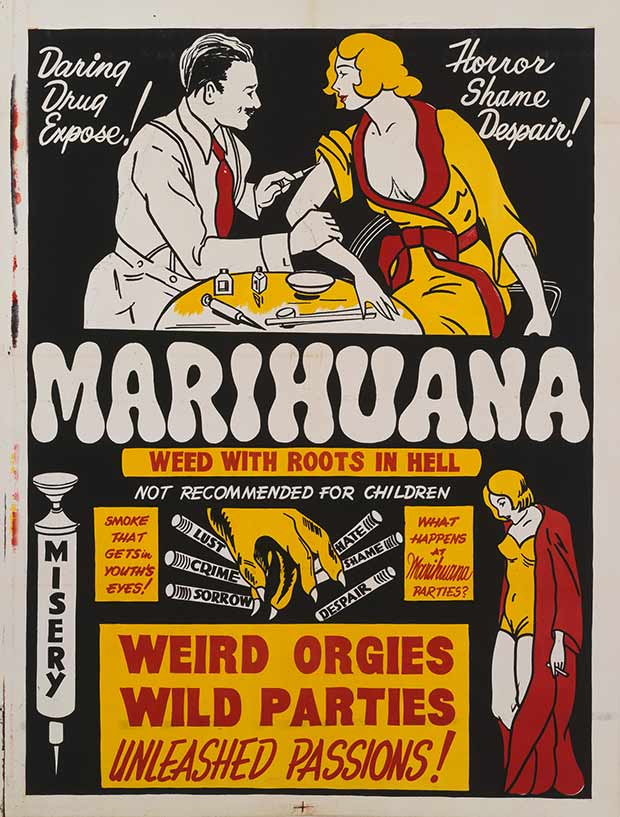 ~ 13 anti-reefer movie posters from the 1930's & 40's. Propaganda to fight marijuana use in teens and adults