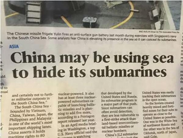 35 Funny Pics ~ newspaper headline fail ~ China may be using sea to hide submarines