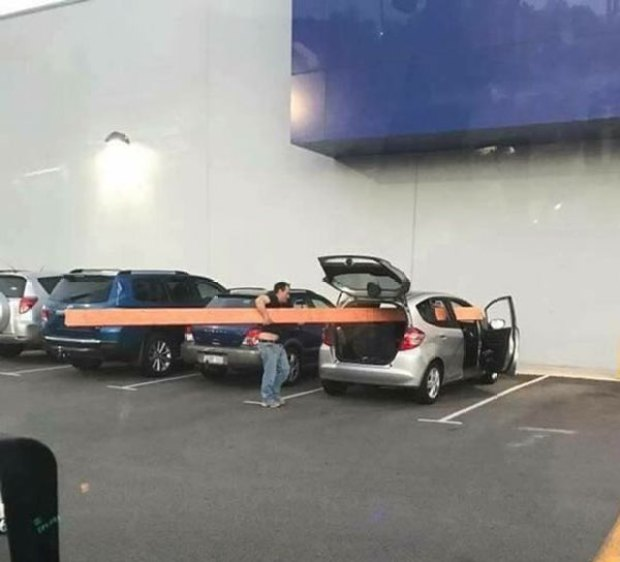35 Funny Pics ~ Redneck engineering ~ Putting lumber in car