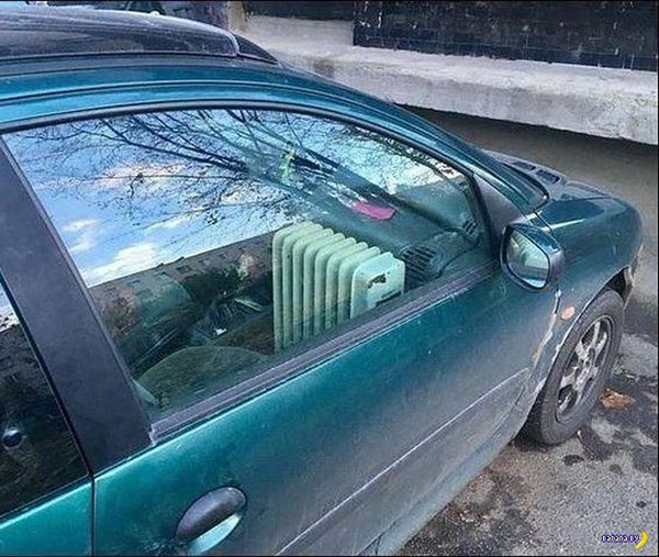 31 Funny Pics & Memes ~ redneck engineering, radiator heater in car