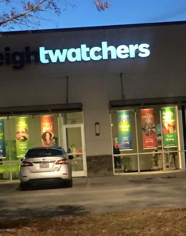 33 Funny Pics ~ weight watchers sign with burned out lights
