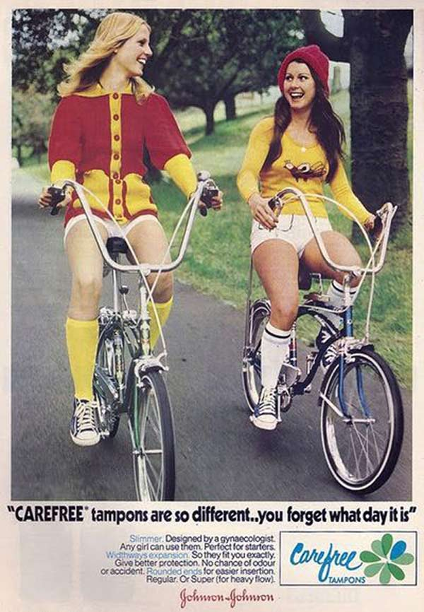 33 Funny Pics ~vintage 1970s carefree ad girls on stingray bikes