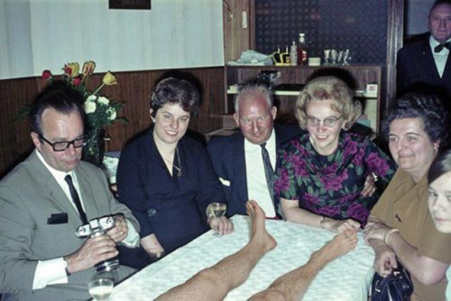 27 Funny Family Photos & Vintage Snaps ~ 1960s Dinner Party with a dead man