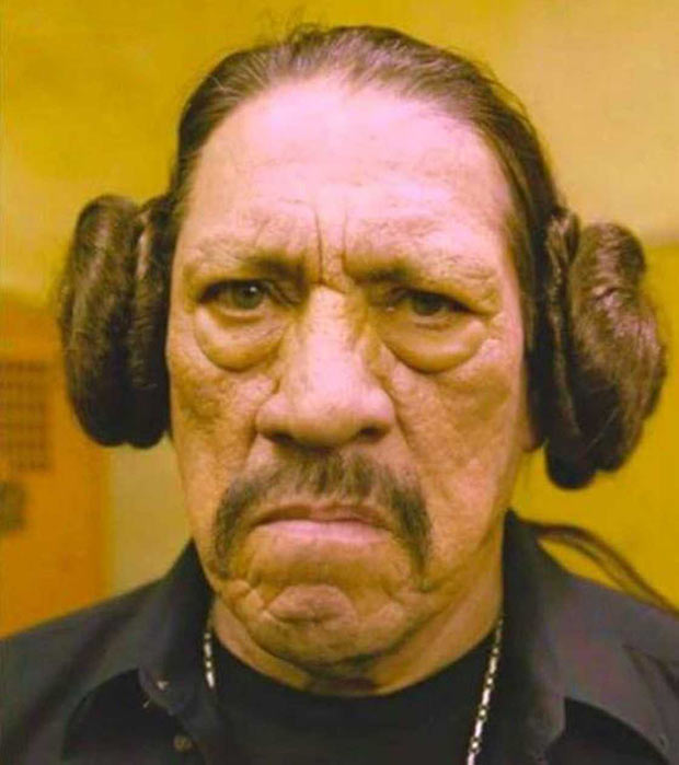 35 Funny Pics ~ Danny Trejo with Princess Leia ear buns