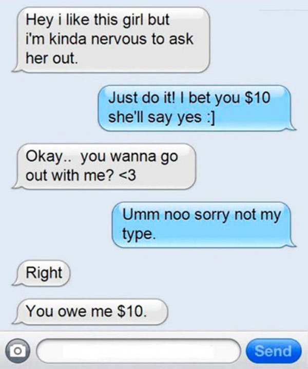 35 Funny Pics ~ dating text, asking a girl out bet