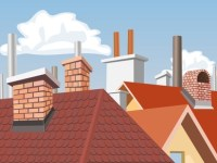 Roofs chimneys cartoon style