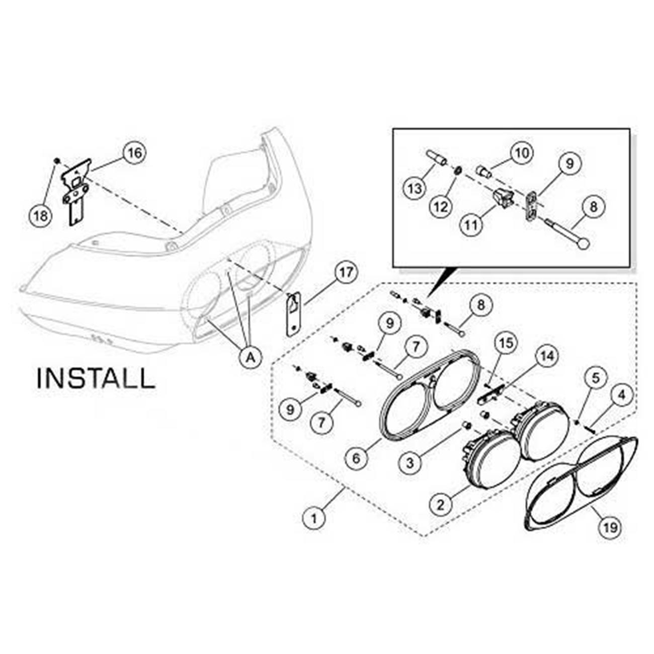 Dual LED Headlight Black Projector Bracket for Harley