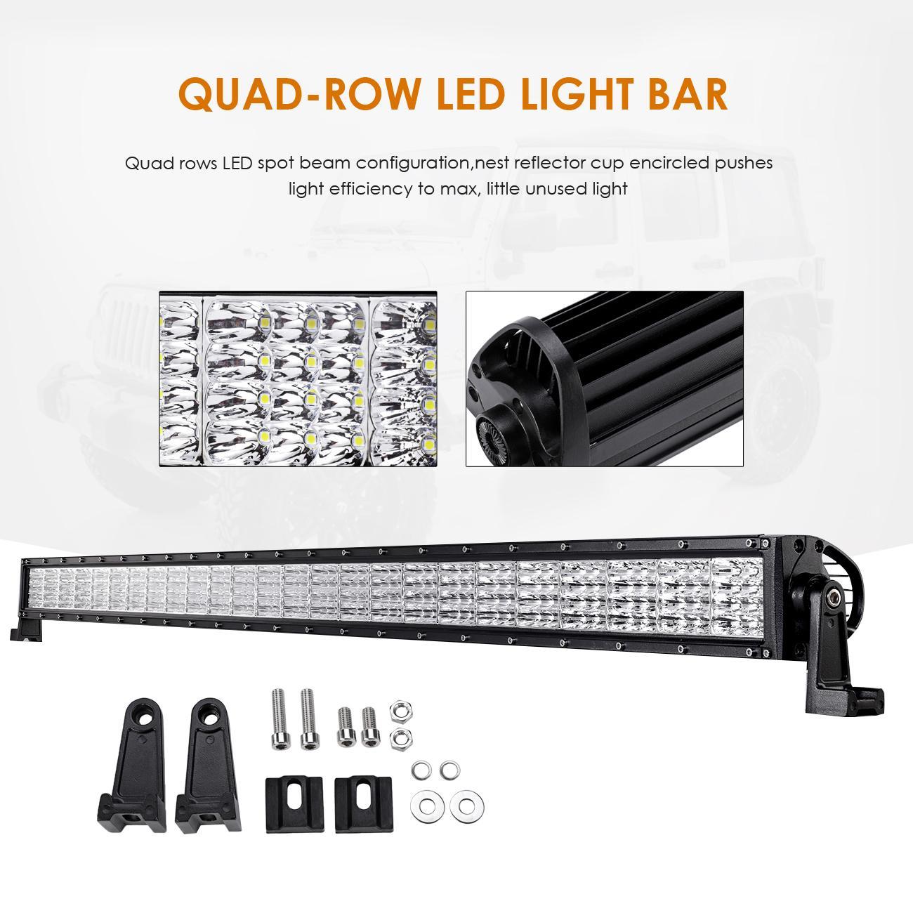 52 W Quad Row 4x 4 Pods Cree Led Light Bar Mounts