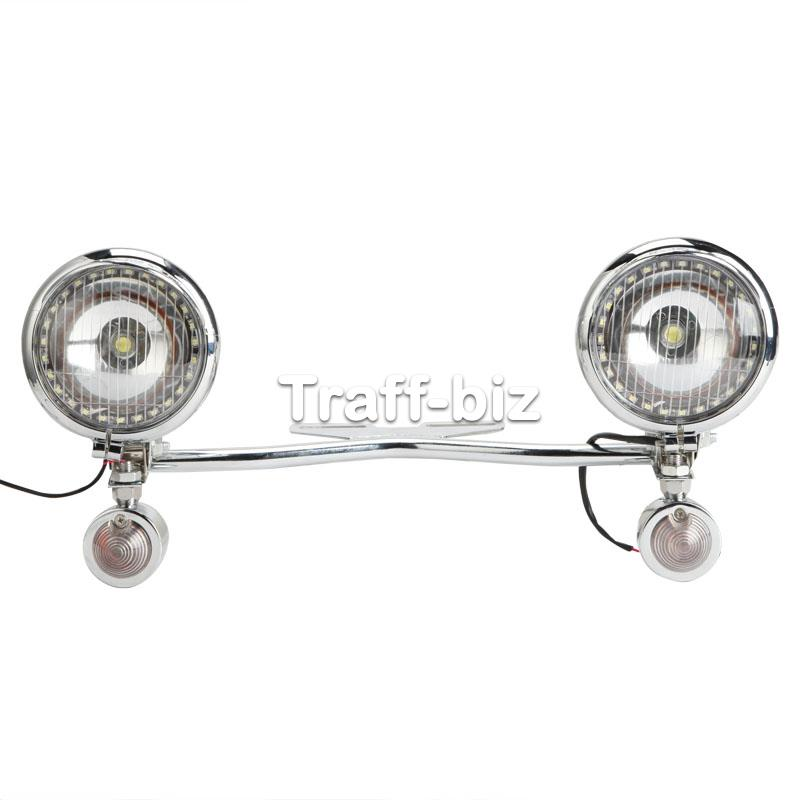 Chrome Turn Signal Driving Passing Spot Light Bar for