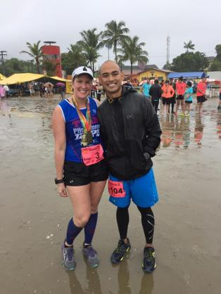 Mandy and her husband Christian after they finished the race