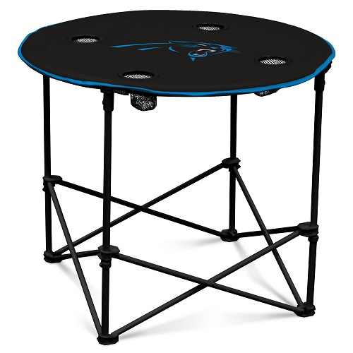 carolina panthers folding chairs white leather chair and ottoman round table w officially licensed team logo