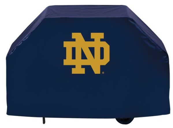 Notre Dame Grill Cover With Fighting Irish Logo Blue Vinyl