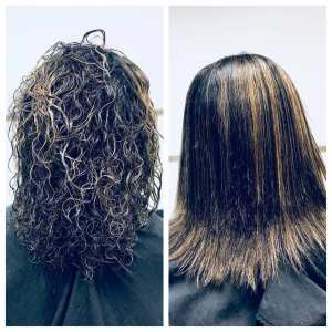 Before and After photo. Curly textured hair on left, straight smooth hair on right.
