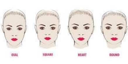 Jawline Shapes Chart. Oval, Square, Heart, Round