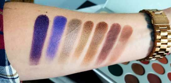 row 4 swatches of the jaclyn hill morphe palette