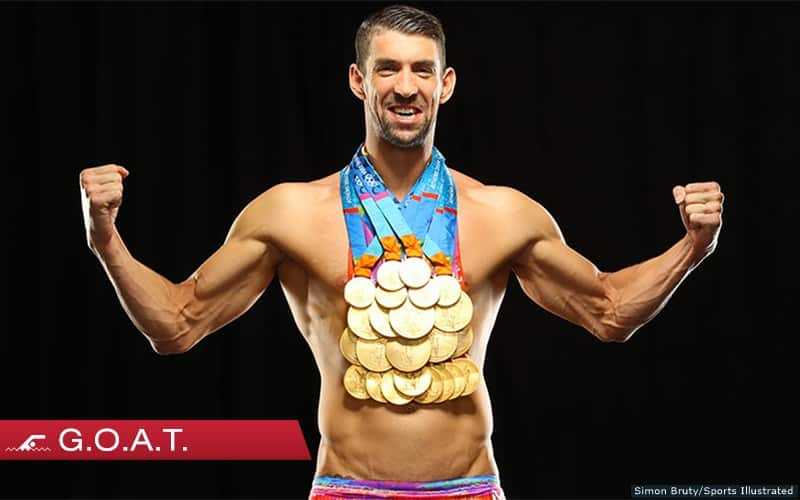 Michael Phelps Poses With All 23 Gold Medals For First