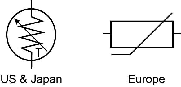 thermistor symbol electrical diagram 3 wire pickup wiring basics wavelength electronics figure 1 us and japan
