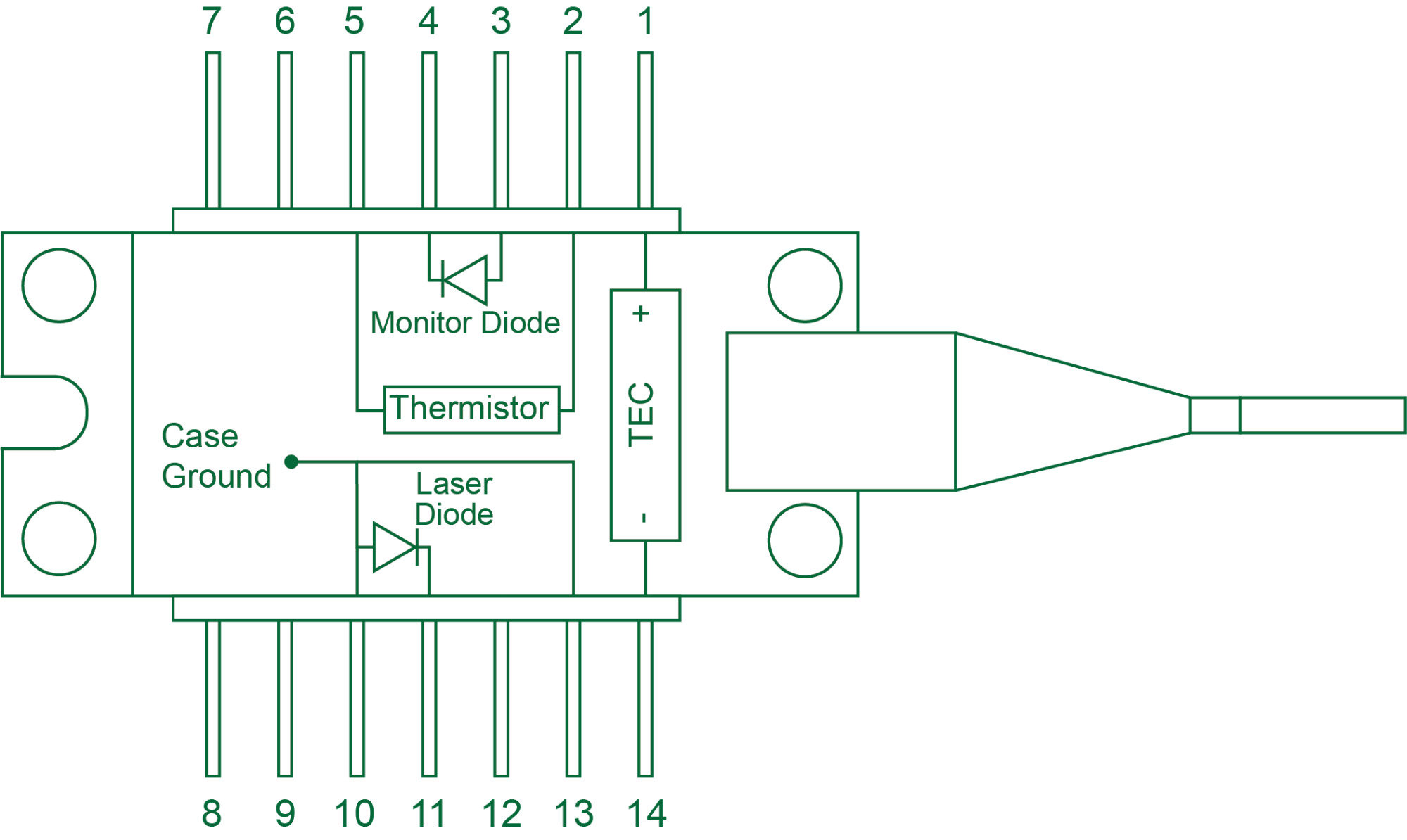 hight resolution of  type 2 doesn t match your laser diode it allows you to configure the connections between any 14 pin butterfly package and the ldmount d sub connectors