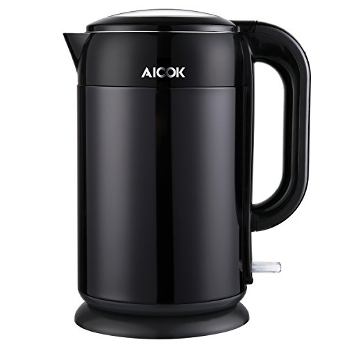 AICOK STAINLESS STEEL INTERIOR DOUBLE WALL COOL TOUCH CORDLESS ELECTRIC TEA KETTLE