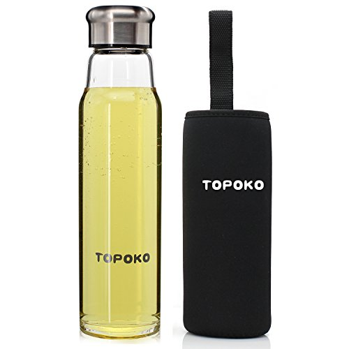 TOPOKO18.5-OUNCE BPA-FREE GLASS STRONG CRYSTAL GLASS WATER BOTTLE