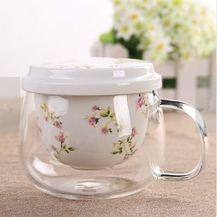 YF-TOW 301-400ML PERSONAL GLASS AND CERAMICS MADE TEA INFUSER & MUG