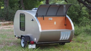 Galley view of teardrop trailer