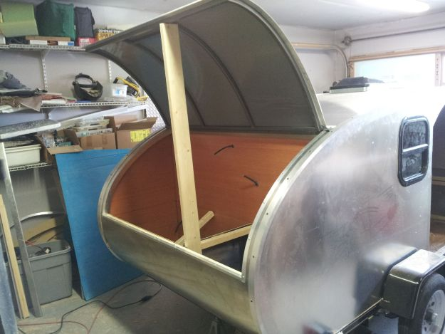 galley view of unfinished teardrop trailer