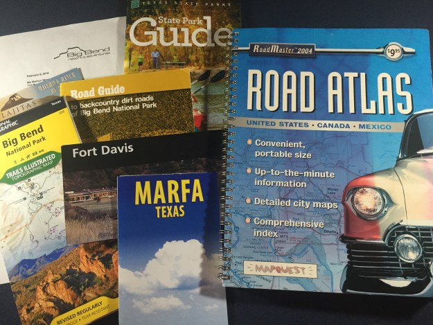 Photo of road atlas,maps and brochures
