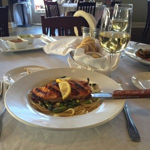 Photo of Grilled Salmon over Asparagus and Pasta