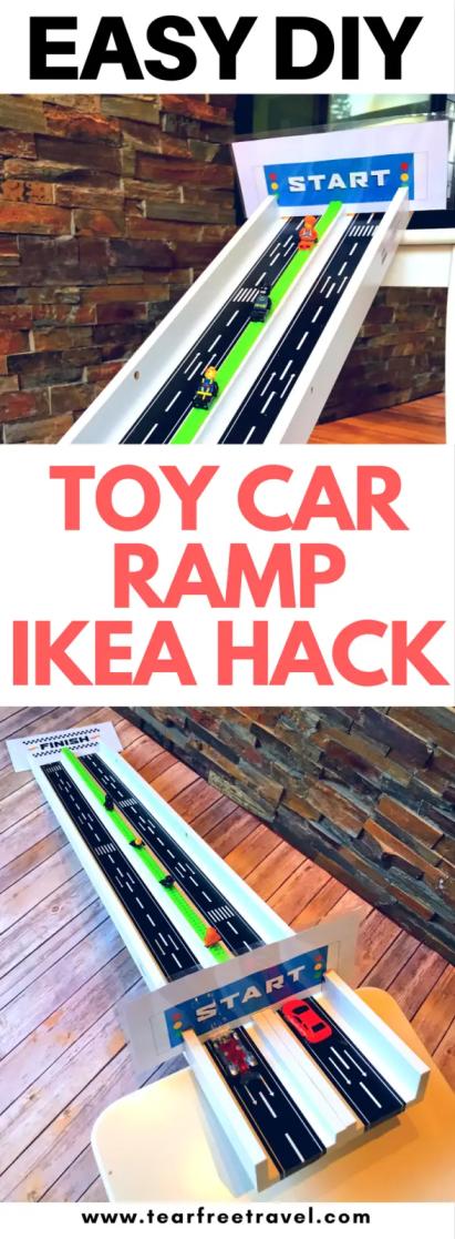 Hacked Racing Toys : Ikea hack diy toy car ramp tear free travel