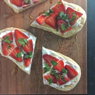 Strawberry Naan Dessert Pizza