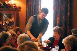 The tearoom is a family affair with even son Chase pouring tea.