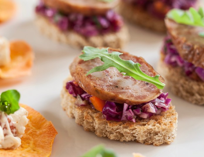 Sausage Canapés with Purple Slaw