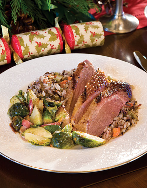 Roasted Goose with Chestnut Stuffing and Roasted Brussels Sprouts