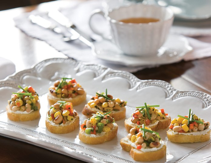 Texas Caviar and Goat Cheese Crostini
