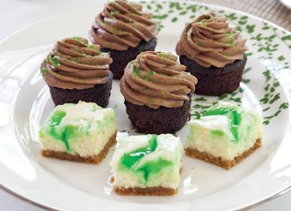 Chocolate-Guinness Mini Cupcakes Lemon-Mint Cheesecake Bars