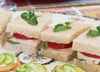 Roasted Chicken Tea Sandwiches and Creamy Cucumber–Mango Chutney Canapes