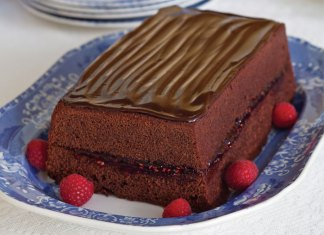Chocolate-Iced Loaf Cake with Raspberry Filling
