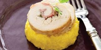 Chicken Saltimbocca Roulades with Saffron Risotto